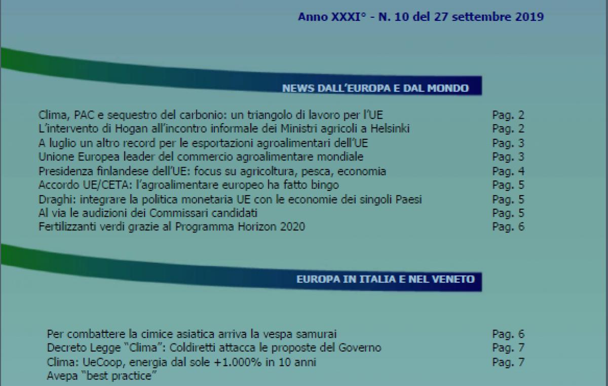 VENETO AGRICOLTURA EUROPA N. 10/2019