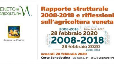 AAA +++ RINVIATO +++ Rapporto strutturale 2008-2018 e riflessioni sull'agricoltura veneta