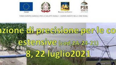 IRRIGAZIONE DI PRECISIONE NELLE COLTURE ESTENSIVE – Corso online
