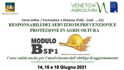 Corso per Responsabili Servizio Prevenzione e Protezione in Agricoltura – RSPP Modulo B-Sp1(cod.8-21)