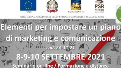 Elementi per impostare un  piano di marketing e comunicazione – Edizione 2021